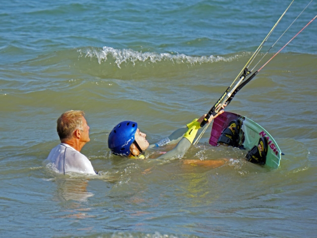 waterstart practice kiteboarding lessons