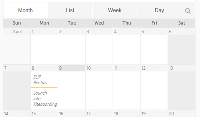 Info + Events Calender